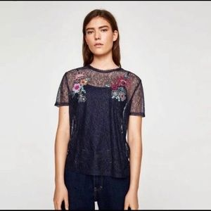 ZARA | Lace Embroidery Floral Short Sleeve Tee